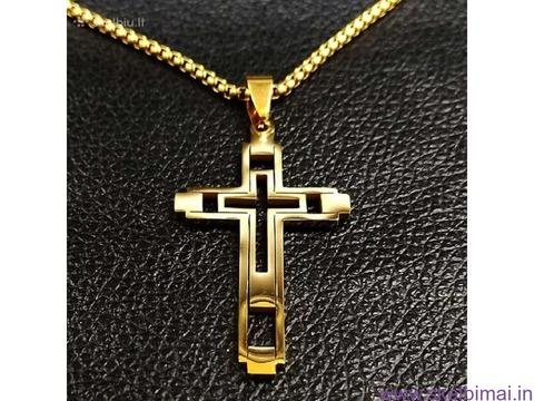 Auksu pildytos grandinėlės ir kryželiai